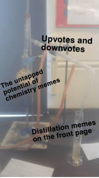 Chemistry Memes: Upvotes and  downvotes  The untapped  potential of  chemistry memes  Distillation memes  on the front page