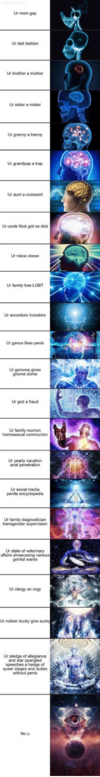 Dad, Family, and God: Ur mom gay  Ur dad lesbian  Ur brother a mother  Ur sister a mister  Ur granny a tranny  Ur grandpap a trap  Ur aunt a croissant  Ur uncle Nick got no dick  Ur niece obese  Ur family tree LGBT  Ur ancestors incestors  Ur genus likes penis  Ur genome gives  gnome dome  Ur god a fraud  Ur  reunion  Ur yearly vacation  anal penetration  Ur social media  Ur family diagnostician  Ur state of veterinary  affairs showcasing various  genital wares  Ur clergy an orgy  Ur rubber ducky give suck  Ur pledge of allegiance  and star spangled  speeches a hedge of  queer sieges and dudes  without penis  No u no context