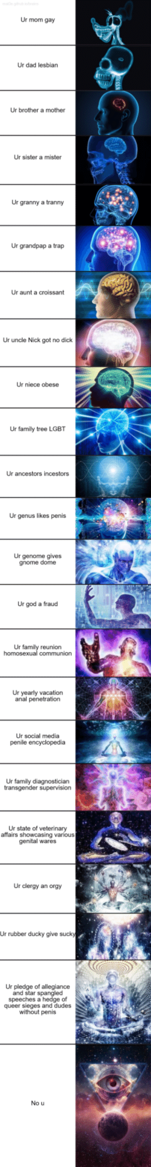 Now that its over, I compiled the entire ur mom gay chain: Ur mom gay  Ur dad lesbian  Ur brother a mother  Ur sister a mister  Ur granny a tranny  Ur grandpap a trap  Ur aunt a croissant  Ur uncle Nick got no dick  Ur niece obese  Ur family tree LGBT  Ur ancestors incestors  Ur genus likes penis  Ur genome gives  gnome dome  Ur god a fraud  Ur family reunion  Ur yearly vacation  anal penetration  Ur social media  Ur family diagnosticiarn  Ur state of veterinary  affairs showcasing various  genital wares  Ur clergy an orgy  Ur rubber ducky give suck  Ur pledge of allegiance  and star spangle  speeches a hedge of  queer sieges and dudes  without penis  No u Now that its over, I compiled the entire ur mom gay chain