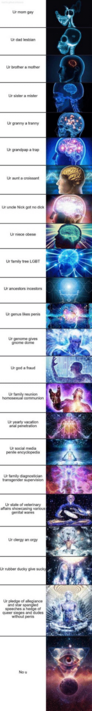 I laugh every time: Ur mom gay  Ur dad lesbian  Ur brother a mother  Ur sister a mister  Ur granny a tranny  Ur grandpap a trap  Ur aunt a croissant  Ur uncle Nick got no dick  Ur niece obese  Ur family tree LGBT  Ur ancestors incestors  Ur genus likes penis  Ur genome gives  gnome dome  Ur god a fraud  Ur family reunion  homosexual communion  Ur yearly vacation  anal penetration  Ur social media  penile encyclopedia  Ur family diagnostician  transgender supervision  Ur state of veterinary  affairs showcasing various  genital wares  Ur clergy an orgy  Ur rubber ducky give sucky  Ur pledge of allegiance  and star spangled  speeches a hedge of  queer sieges and dudes  without penis  No u I laugh every time