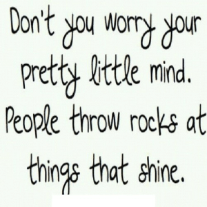 Mind, Net, and Shine: ur  Pretty little mind.  People throw rocks at  things that shine. https://iglovequotes.net/