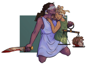 urbanbirdbud: [image description: a digital drawing of lady justice and medusa against a white background, with a square of green in the middle. lady justice is a tall woman with dark skin and brown hair in a ponytail. she is wearing a light blue chiton, a blindfold, and holding a greek sword (kopis) spattered with blood and a set of scales in her hands. she is facing off towards the right.  medusa has light brown skin, yellow slitted eyes, and leopard snakes for hair. she is wearing a green chiton and is sitting on justice's bent knee, turning to face towards the viewer. both of them have various scars over their bodies, with medusa having a particularly jagged one around her neck. one of medusa's snakes is curled around justice's neck and is snuggling into her. perseus' severed head is placed upon one of the scales, bleeding freely. end description] holy shit the idea to draw this hit me in the middle of class so my gay ass jotted it down and then obsessed over it for 5 days. im really into the idea of medusa surviving perseus, and then i remembered lady justice with her blindfold so it just came together. and also i mean fuck perseus tbh : URBAN  TRD  3 urbanbirdbud: [image description: a digital drawing of lady justice and medusa against a white background, with a square of green in the middle. lady justice is a tall woman with dark skin and brown hair in a ponytail. she is wearing a light blue chiton, a blindfold, and holding a greek sword (kopis) spattered with blood and a set of scales in her hands. she is facing off towards the right.  medusa has light brown skin, yellow slitted eyes, and leopard snakes for hair. she is wearing a green chiton and is sitting on justice's bent knee, turning to face towards the viewer. both of them have various scars over their bodies, with medusa having a particularly jagged one around her neck. one of medusa's snakes is curled around justice's neck and is snuggling into her. perseus' severed head is placed upon one of the scales, bleeding freely. end description] holy shit the idea to draw this hit me in the middle of class so my gay ass jotted it down and then obsessed over it for 5 days. im really into the idea of medusa surviving perseus, and then i remembered lady justice with her blindfold so it just came together. and also i mean fuck perseus tbh