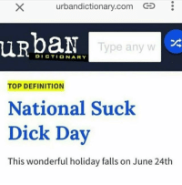 Let's get down to business: urbandictionary.com i  urbandictionary.com CS  uRpan  Type anyw  DICTIONARY  TOP DEFINITION  National Suck  Dick Day  This wonderful holiday falls on June 24th Let's get down to business