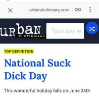 God damnit I missed it: urbandictionary.com  uRpaN  Type any w  DICTIONARY  TOP DEFINITION  National Suck  Dick Day  This wonderful holiday falls on June 24th God damnit I missed it