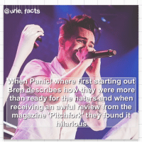 Facts, Memes, and Guess: @urie, facts  When Panict where first starting out  ndescribes how they  than ready for the ha  ere more  nd when  View from the  receiving an awful re  agazine 'Pitchfork they found  hilario Guess whose back, back again....Emz is back 😂Yo guys if ya don't know me I'm @beeboislegitmylife_ (always plug) aka Sanna's twin aka Emz, I'm co-hosting let's be frennns ❤️