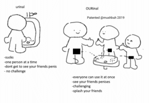 Friends, Tumblr, and Blog: urinal  OURinal  Patented @mushbuh 2019  -sucks  -one person at a time  -dont get to see your friends penis  no challenge  -everyone can use it at once  -see your friends penises  -challenging  splash your friends mushbuh: new pee idea