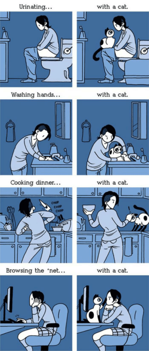 cutekittensarefun:  Life is more interesting … with a cat: Urinating..  with a cat  Washing hands...  with a cat  Cooking dinner...  with a cat.  CHOP  снOP  CHOP  RUCE  Browsing the 'net...  with a cat cutekittensarefun:  Life is more interesting … with a cat
