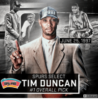 20 years ago today, San Antonio drafted Tim Duncan. The Spurs, and NBA fashion, changed forever.: URS  JUNE 25, 1997  SPURS SELECT  TIM DUNCAN  #1 OVERALL PICK  CBS SPORTS 20 years ago today, San Antonio drafted Tim Duncan. The Spurs, and NBA fashion, changed forever.