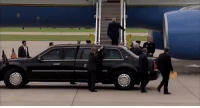 Air Force, Trump, and Air: URT-A Trump boarding Air Force One with toilet paper stuck to his shoe.
