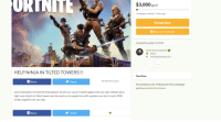 Bruh, Facebook, and Best: URTNIT  $3,000 goal  Campaign created 11 mins ago  Donate Now  fShare on Facebook  Created November 13, 2018  team bruh moment  Other  YOUNGSTOWN, OH  DT  HELP NINJA IN TILTED TOWERS!!!  Donations  Share  y Tweet  Be the first to share  No donations yet. Help launch this campaign  and become the first donor  were looking for the best fortnite players to join our cause in battle against the non epic default skins  right now ninja is in tilted towers and he needs us to supply him with a golden scar but it costs 3000  dollars together we can help  Share  Tweet
