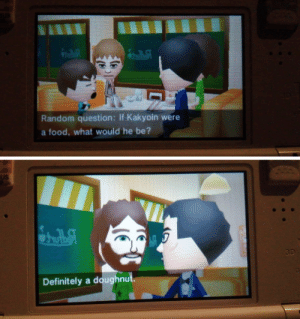 Why must you hurt me this way, Tomodachi Life?: US  30  Random question: If Kakyoin were  a food, what would he be?  US  3D  Definitely a doughnut. Why must you hurt me this way, Tomodachi Life?