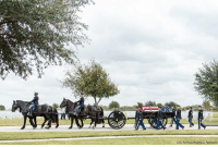 The casket of retired Gen. Richard E. Cavazos, the U.S. Army's first Hispanic four-star general, is transported during his internment ceremony Tuesday. Cavazos made military history in 1976 by becoming the first Hispanic to attain the rank of brigadier general in the USArmy. Less than 20 years later he made history again when he was appointed as the Army's first Hispanic four-star general. He retired in 1984 and recently died at age 88.: US. A Force/Andrew C Patterson The casket of retired Gen. Richard E. Cavazos, the U.S. Army's first Hispanic four-star general, is transported during his internment ceremony Tuesday. Cavazos made military history in 1976 by becoming the first Hispanic to attain the rank of brigadier general in the USArmy. Less than 20 years later he made history again when he was appointed as the Army's first Hispanic four-star general. He retired in 1984 and recently died at age 88.