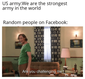 Nobody can stop us: US army:We are the strongest  army in the world  Random people on Facebook:  Are you challenging me?  ww  T Nobody can stop us