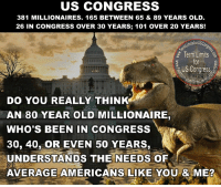 Incredibly, a brave meme warrior actually got some truth through to the front page on Imgur.: US CONGRESS  381 MILLIONAIRES. 165 BETWEEN 65 & 89 YEARS OLD  26 IN CONGRESS OVER 30 YEARS; 101 OVER 20 YEARS!  Term Limits  for  US Congress  DO YOU REALLY THINK  AN 80 YEAR OLD MILLIONAIRE,  WHO'S BEEN IN CONGRESS  30, 40, OR EVEN 50 YEARS,  UNDERSTANDS THE NEEDS OF  AVERAGE AMERICANS LIKE YOU & ME? Incredibly, a brave meme warrior actually got some truth through to the front page on Imgur.