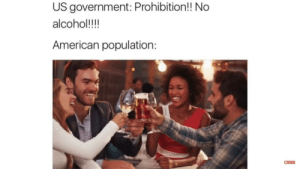 Alcohol, American, and Prohibition: US government: Prohibition!! No  alcohol!!!  American population: It's almost as if the state isn't capable of banning alcohol without being tyrannical