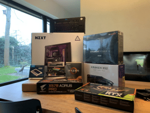 Let's build !: US INTL  PRO  P  A  S  STRAIG  be qyiet!  NZXT  SILENT  80  FULL CABLE MANAGEMENT  PS  CAUTION  TEMPERED GLASS  HANDLE WITH CARE  STRAIGHT POWER 11  EFFICIENCY  AND  QUFET  CLASS  WORLD  NZXT  750W  e se  AMD  TRIDENTZ  crucial  The mamory& stiorage eperts  KRAKEN X52  LE  KRAKEN X52  MX500  2.5-INCH SSD  SILL  Compatible  240MM LIQUID COOLER  RYZEN  ith  RYZEN  eral  TRIDENTZ  TRIDENTZ RGB  BC  39 GEN PROCESSOR  PEl 4DREADY  500GB  ADRUS  PA  KVEA  XS 70  50  NOTA  OAA ND MOTHE ANOARD Hoska AMA  GIPABY T  NZXT  GIGA BYTE  X578 AORUS  PRO  wwwOFORCE Oe 8  X57  AMDE  SOCKET  AM4  rURIN  00OW MAY TRMEIN CRES N  AORUS  RTX  EFOR CE  GAMING MOTHERBOARD Sacket AM4  GIGABYTE  2060 CU  w  premium  LE  .. Let's build !