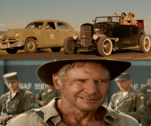 In Indiana Jones and the Kingdom of the Crystal Skull (2008), there were Ford product placements such as the 1950 Ford Deluxe, 1932 Ford Roadster and Harrison Ford.: US. JRY  187731  NMO__BLRRY  GAF 990  NE In Indiana Jones and the Kingdom of the Crystal Skull (2008), there were Ford product placements such as the 1950 Ford Deluxe, 1932 Ford Roadster and Harrison Ford.