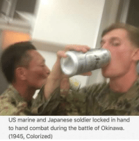 What a gruesome display of war! Avert your eyes.: US marine and Japanese soldier locked in hand  to hand combat during the battle of Okinawa.  (1945, Colorized) What a gruesome display of war! Avert your eyes.