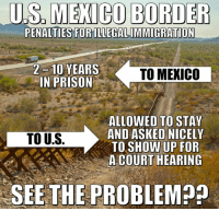 Memes, Paul Ryan, and Prison: US,  MENICO  BORDER  PENALTIES FOR ILLEGALIMMIGRATION  2- 10 YEARS  IN PRISON  TO MEXICO  ALLOWED TO STAY  AND ASKED NICELY  TO SHOW UP FOR  A COURT HEARING  TO U.S.  SEE THE PROBLEMD? This Is A Total Slap In The Face!   Speaker Paul Ryan & Senator Mitch McConnell, Do Your Job! Build The Wall! #MAGA