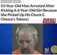 old man: US NEWS NEWS  53-Year-Old Man Arrested After  Kicking A 6-Year-Old Girl Because  She Picked Up His Chuck E.  Cheese's Tokens!  HIRHOF