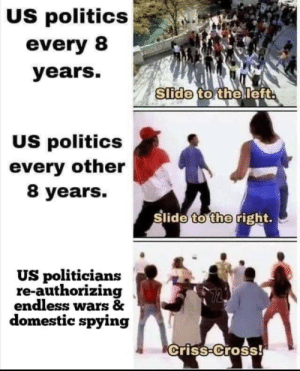 United States in a Nutshell: US politics  every 8  years.  Slide to the left  US politics  every other  8 years.  Slide to the right.  US politicians  re-authorizing  endless wars &  domestic spying  criss-Cross! United States in a Nutshell