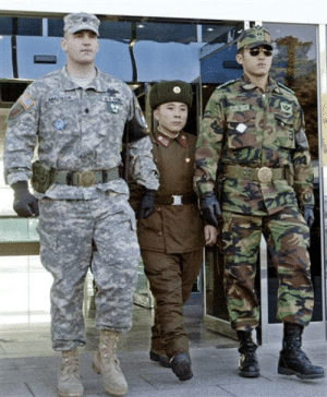 Korean, Soldier, and South: US soldier, North Korean soldier, South Korean soldier