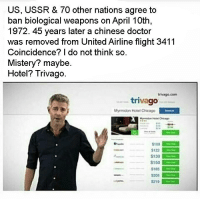 Chicago, Doctor, and Chinese: US, USSR & 70 other nations agree to  ban biological weapons on April 10th  1972. 45 years later a chinese doctor  was removed from UnitedAirline flight 3411  Coincidence? I do not think so.  Mistery? maybe.  Hotel? Trivago.  trivago com  triva  Myrmidon Hotel Chicago  S100  $122  S139  $185  S219