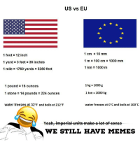 Feet In A Mile: US vs EU  1 foot 12 inch  1 yard 3 feet 36 inches  1 mile 1760 yards 5280 feet  1 cm10 mm  1 m 100 cm 1000 mm  1 km 1000 m  1 pound16 ounces  1 kg 1000 g  1 stone = 14 pounds = 224 ounces  1 ton 1000 kg  water freezes at 32°F and boils at 212°F  water freezes at 0°C and boils at 100°C  Yeah,imperial units make alot of sen  WE STILL HAVE MEMES