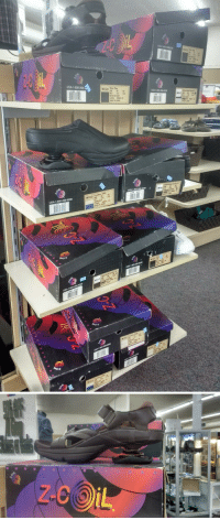 shiftythrifting:  A shelf of z-coil shoes?????? An innovation in shoe technology?????????? Found at an American Cancer Society.  You guys think crocks are the ugliest shoes?: USA-1-800-  M15.0 Too g  95 145  Men's  MADE IN KORE  M13.0  05 120 10  USA-1 shiftythrifting:  A shelf of z-coil shoes?????? An innovation in shoe technology?????????? Found at an American Cancer Society.  You guys think crocks are the ugliest shoes?