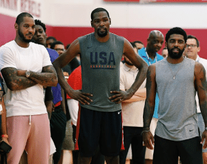 "Melo on potentially joining KD and Kyrie in Brooklyn:   ""That's family. That's bigger than basketball. If something happens, something's gonna happen.""  (via TMZ Sports): USA  BASKETBALL Melo on potentially joining KD and Kyrie in Brooklyn:   ""That's family. That's bigger than basketball. If something happens, something's gonna happen.""  (via TMZ Sports)"