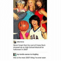 Halloween, High School Musical, and Memes: USA  chlorinne  Never forget that the cast of Camp Rock  dressed up as High School Musical for  halloween in 2007  my-tardis-sense is tingling  this is the most 2007 thing i've ever seen I just got back from a play @idiosyncrat