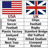 Arsenal, Football, and Memes: USA  Crisps  Soccer  Football  UK  Chips  Footbal  Rugby  Plastic Factory Stamford Bridge  Junkyard  Empty  Next Year  Four  Old Trafford  Etihad Stadium  Liverpool  Arsenal Language differences 😂😂 ...