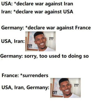Routine: USA: *declare war against Iran  Iran: *declare war against USA  Germany: *declare war against France  ???  USA, Iran:  ??  Germany: sorry, too used to doing so  France: *surrenders  ??  USA, Iran, Germany:  ??? Routine