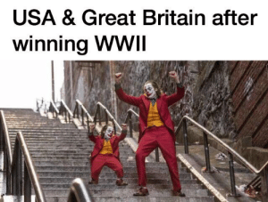 Dank Memes, Britain, and Usa: USA & Great Britain after  winning WWII Sweet victory