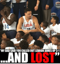 """Nba, Usa, and Nationals: USA  """"MYDAD SAID YOU CALLEDOUTLEBRON JAMESUP3-1  LOST  LAND Klay Thompson gets approached by kid.  Credit: FearTheSword  #Cavs Nation #Warriors Nation"""