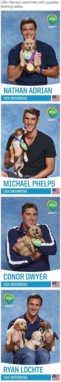"""Animals, Puppies, and Target: USA Olympic swimmers with puppies.  Nothing better.   Rio  AUGUST 5  Rio  NATHAN ADRIAN  USA SWIMMING   RiO  AUGUST 5  MICHAEL PHELPS  USA SWIMMING   Rio  AUGUST 5  CONOR DWYER  USA SWIMMING   Rio  AUGUST 5  RYAN LOCHTE  USA SWIMMING <p><a href=""""http://therelatabletexts.tumblr.com/post/148751223076"""" class=""""tumblr_blog"""" target=""""_blank"""">therelatabletexts</a>:</p>  <blockquote><p><a href=""""http://babyanimalgifs.tumblr.com/"""" target=""""_blank"""">baby <b>animals</b> blog</a></p></blockquote>"""