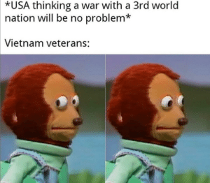 Me_irl: *USA thinking a war with a 3rd world  nation will be no problem*  Vietnam veterans: Me_irl