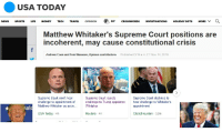 Life, Money, and News: USA TODAY  HOLuDAY GIFTS MORE Q  NEWS  SPORTS LIFE  MONEY TECH  TRAVEL  OPINION  33° CROSSWO  RDS  INVESTIGATIONS  Matthew Whitaker's Supreme Court positions are  incoherent, may cause constitutional crisis  Andrew Coan and Toni Massaro, Opinion contributors  Published 3:15 a.m. ET Nov. 14, 2018  Supreme Court won't hear  challenge to appointment of  Matthew Whitaker as actin...  Supreme Court rejects  challenge to Trump appointeehear challenge to Whitaker's  Whitaker  Supreme Court declines to  appointment  Click2Houston 52m  USA Today 4h  Reuters 4h