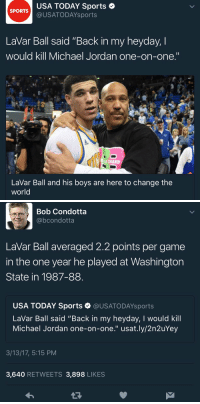 "USA TODAY Sports  SPORTS  (a US ATODAYsports  Lavar Ball said ""Back in my heyday, l  would kill Michael Jordan one-on-one.""  LaVar Ball and his boys are here to change the  world   Bob Condotta  @bcondotta  LaVar Ball averaged 2.2 points per game  in the one year he played at Washington  State in 1987-88  USA TODAY Sports @USATODAYsports  LaVar Ball said ""Back in my heyday, l would kill  Michael Jordan one-on-one."" usat.ly/2n2uYey  3/13/17, 5:15 PM  3,640  RETWEETS 3,898 LIKES RT @SomeonesAnIdiot: You sure about that LaVar? (via @bcondotta)"