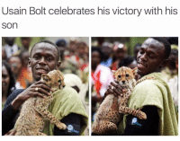 Usain Bolt, Bolt, and Son: Usain Bolt celebrates his victory with his  son Usain Bolt celebrets victory with his son (2009)
