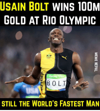 History has been made ! Unbelievable !!  Usain Bolt WINS his 3rd consecutive Olympic Men's 100m title ! Still 2 more Gold to grab hopefully !!  #RioOlympic2016: USAIN BOLT WINS 100M  E BOLT  STILL THE WORLD'S FASTEST MAN History has been made ! Unbelievable !!  Usain Bolt WINS his 3rd consecutive Olympic Men's 100m title ! Still 2 more Gold to grab hopefully !!  #RioOlympic2016