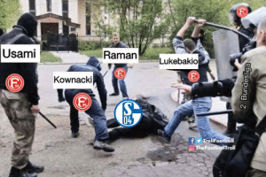 Memes, Live, and 🤖: Usami  RamanLukebakio  Kownacki  95  04  TrollFootball  TheFootbalTroll Live scenes from the Veltins-Arena #S04F95 https://t.co/jh4d5JX8st