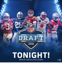 The @NFLDraft is finally here! 🎊  2018 #NFLDraft: TONIGHT at 8pm ET on NFLN/FOX/ESPN https://t.co/iwYZ3Ruw2t: USC  14  NC STATE  NFL  DRAFT  2018  TONIGHT!  8PM ETINFLN | FOX I ESPN  NFL The @NFLDraft is finally here! 🎊  2018 #NFLDraft: TONIGHT at 8pm ET on NFLN/FOX/ESPN https://t.co/iwYZ3Ruw2t
