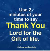 thank you lord: Use 2.  minutes of.your  time to say  Thank You  Lord for the  Gift of life.  LifeLearnedFeelings