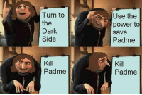 Power, Dark, and The Dark: Use the  power to  save  Padme  Turn to  the  Dark  Side  Kill  Padme  Padme