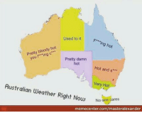 "Memes, 🤖, and Damned: Used to it  F** ing hot  Pretty bloody hot  f ing  c"".  Pretty damn  hot  Hot and s  Australian Very Hot  Weather Right Now  No one cares  memecenter.com/masteralexander Sorry tasmania 😂"