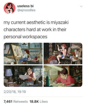 Tumblr, Work, and Aesthetic: useless bi  @ejnoodles  my current aesthetic is miyazaki  characters hard at Work in their  personal workspaces  2/20/18, 19:19  7,461 Retweets 18.8K Likes jumpingjacktrash: dxmedstudent: Ghibli characters always make me feel better about the complete chaotic mess of my workspaces.  ghibli characters make me want to work hard