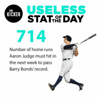 He may have passed Mark McGwire, but he's still got a lot of work to do this season. #USOTD: USELESS  STATTE DAY  THE  KICKER  OF  714  Number of home runs  Aaron Judge must hit in  the next week to pass  Barry Bonds' record He may have passed Mark McGwire, but he's still got a lot of work to do this season. #USOTD