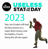 Super Bowl, Raiders, and Time: USELESS  STATTRE DAY  THE  KICKER  OF  2023  Year Jon Gruden will lead  the Buccaneers to a  Super Bowl victory over  the Raiders, if we're  doing this all over again Jon Gruden's the coach of the Raiders again, and time is a flat circle. #USOTD