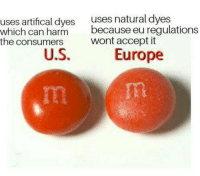 "Club, Tumblr, and Blog: uses artifical dyes uses natural dyes  which can harmbec  the consumers  because eu regulations  wont accept it  Europe <p><a href=""http://laughoutloud-club.tumblr.com/post/171990012210/mms-use-other-dyes-in-the-usa-which-can-be"" class=""tumblr_blog"">laughoutloud-club</a>:</p>  <blockquote><p>M&ms use other dyes in the usa which can be harmful <br/> EUROPE:1<br/> USA:0</p></blockquote>"